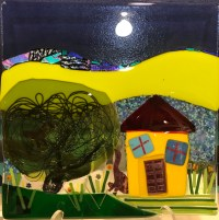 """'Country Home' Fused Glass by Liz Train 12""""x 12"""" $400"""