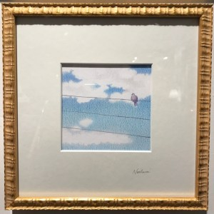 "'Palolo World View, Pink Doves' by Noelani Block Original Pencil 8""x 8"" framed $360"