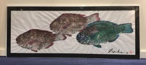 "'Uhu Ulili Gyotaku on Washi by Naoki Hayashi 18""H x 46""W matted $925"