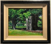 "'Banyan Tree at Thomas Square' Plein Air Oil Painting by Fred Salmon 23.25""H x 27.25""W framed $1300"