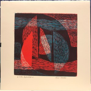"'Red Sails' Monoprint by Linda Spadaro 11""x 11"" matted $30"