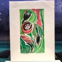 "'Joyful Bloom' Original Monoprint by Linda Spadaro 15""x 11"" matted $60"