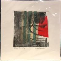 "'Ruby Tuesday' Original Monoprint by Linda Spadaro 10""x 10"" matted $30"