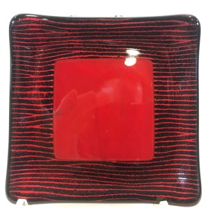 "Black & Red Square Dish Fused Glass by Kathryn Farley 4""x 4"" $24"