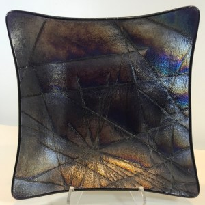 "Dichroic Fused Glass Plate by Kurt McVay 7""x 7"" $65"