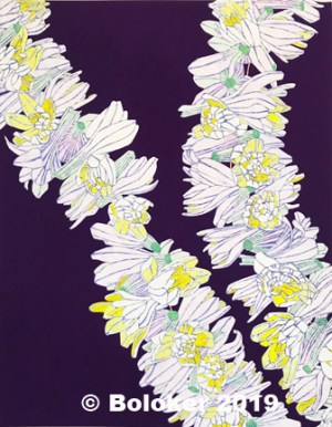 Double Tuberose (Kui Poepoe) Lei Print by Judd Boloker, various sizes