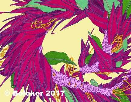 Red Ti Leaf Haku, Lei Print by Judd Boloker, various sizes