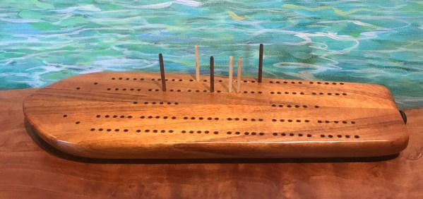 "Koa Cribbage Surfboard by Greg Eaves 12""L x 4""W $120"