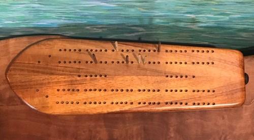 """Koa Cribbage Surfboard by Greg Eaves 12""""L x 4""""W $120"""