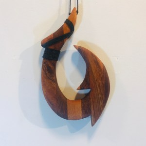 "Koa Hammerhead Fish Hook by Greg Eaves 6.25""L x 3.5""W representative $80"