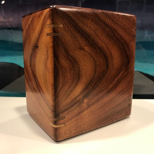 "Medium Small Koa Urn with Splines by Honolulu Woodworks 5 1/4""H x 4 5/8""W x 3 5/8""D interior 4.75""x 4""x 3"" Capacity 57lbs $225"
