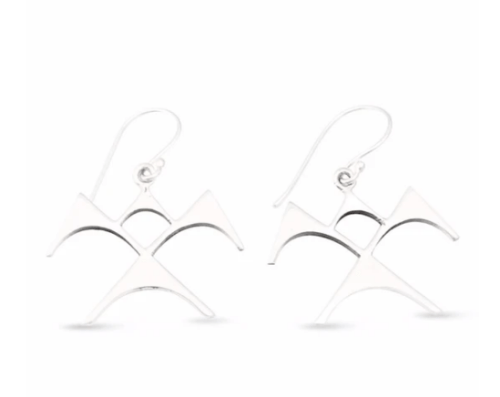 """'Iwa Ne'ekau Earrings Large by Sonny Ching and Paradisus, Sterling Silver 1.5""""W x 1.25""""H $100"""
