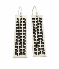 """Ka Pilina Earrings by Sonny Ching and Paradisus, Sterling Silver 1.65""""H x .47""""W $155"""