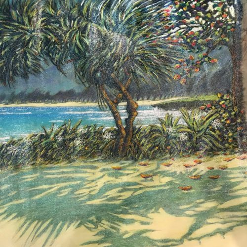 """'Pounders Beach' Original Mixed Media Acrylic Painting by Russell Lowrey 36""""H x 74""""W rolled $6500"""