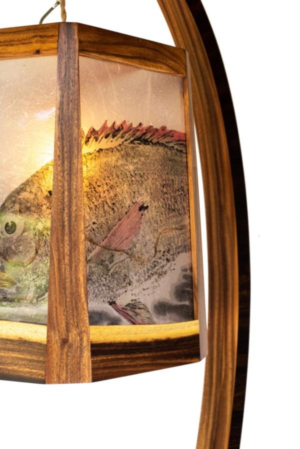 """'First Cast' Monkeypod & Kolohala Lamp by Dave Gagnon; Gyotaku by Naoki 87""""H x 25""""W x 30""""D $9500"""