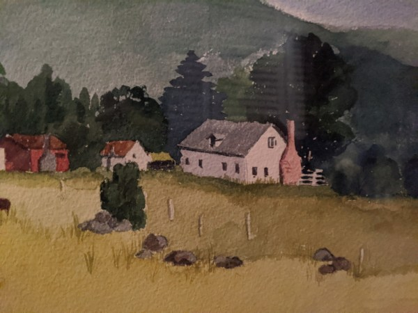 """'Upcountry' Watercolor by Rosalie Prussing, Image size: 14"""" x 11"""", Framed size: 21"""" x 17"""" $795"""