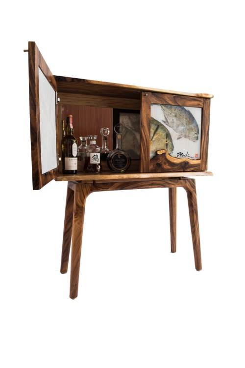 "Pao Pao & Omilu Whiskey Cabinet made from Monkeypod Wood by Dave Gagnon 42""H x 36.5""W x 11.5""D $4250"