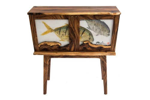 """Pao Pao & Omilu Whiskey Cabinet made from Monkeypod Wood by Dave Gagnon 42""""H x 36.5""""W x 11.5""""D $4250"""