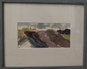 "'Hilltop View' Watercolor by Rosalie Prussing, Image size: 4.5"" x 9"", Framed size: 12"" x 15"" $495"