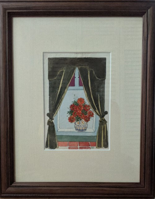 """'Garden Window' Watercolor and Acrylic by Rosalie Prussing, Image size: 5.5"""" x 8"""", Framed size: 13"""" x 16"""" $695"""
