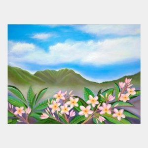 'Pink Plumeria Nu'uanu' watercolor by Jocelyn Cheng, Giclée Print, several sizes