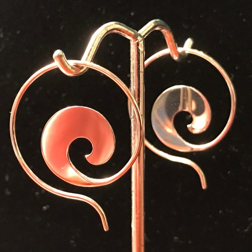 "Maui Wave Sterling Silver Earrings - Small 1""D by Carl Grundy $120"