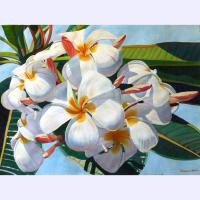 "'Plumeria blooms' Original painting by Fabienne Blanc framed 28""x 37"" image size 22""x 29"" $2900"