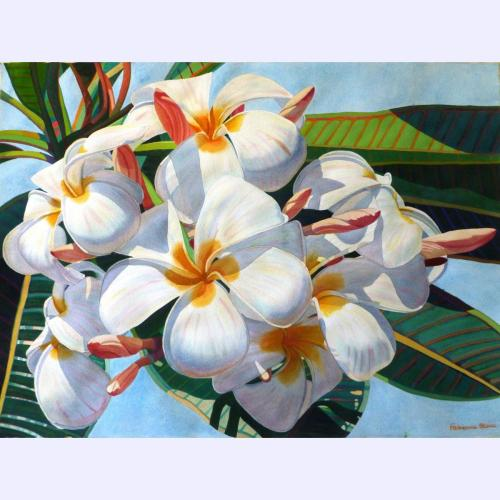"""'Plumeria blooms' Original painting by Fabienne Blanc framed 28""""x 37"""" image size 22""""x 29"""" $2900"""