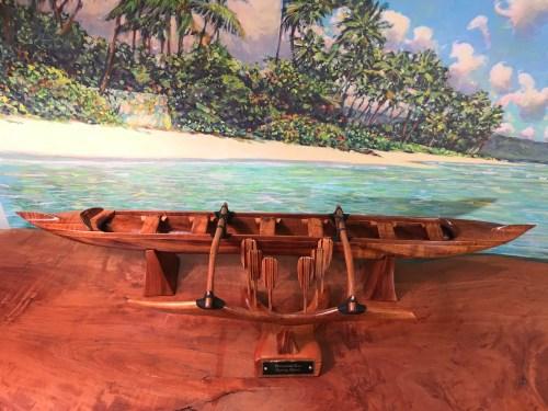 "Koa Racing Canoe 6""H x 29.25""L x 7.5""W by Greg Eaves $2100"