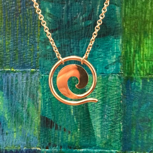 Maui Wave Sterling Silver Large 1D Pendant on Chain (Variable Length) by Carl Grundy $190