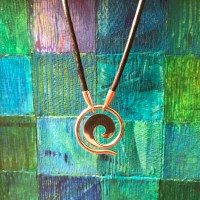 "Maui Wave Sterling Silver Large 1""D Pendant on Leather Cord (Variable Length) by Carl Grundy $140"