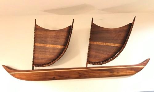 """Wall Mounted Koa SailingCanoe 12""""H x 30""""L by Greg Eaves $600"""