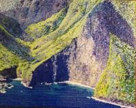 "Moloka'i Pali #2 Original Acrylic on Canvas by Cindy Conklin 16""H x 20""W $1000"