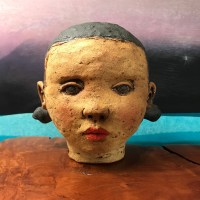 """Black Haired Girl Stoneware Sculpture 7""""H x 7""""W x 6""""D by Jo Rowley $400"""