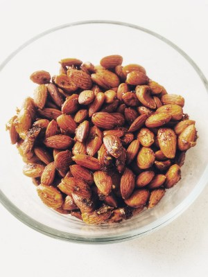smoky baked almonds in a bowl