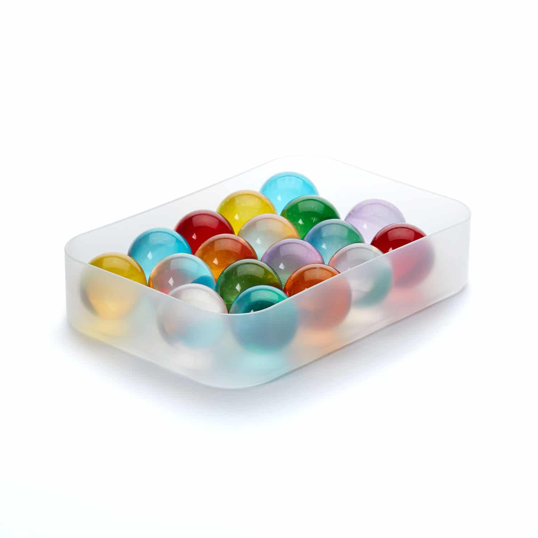 Glass Balls Set Of 18 Colored Transparent