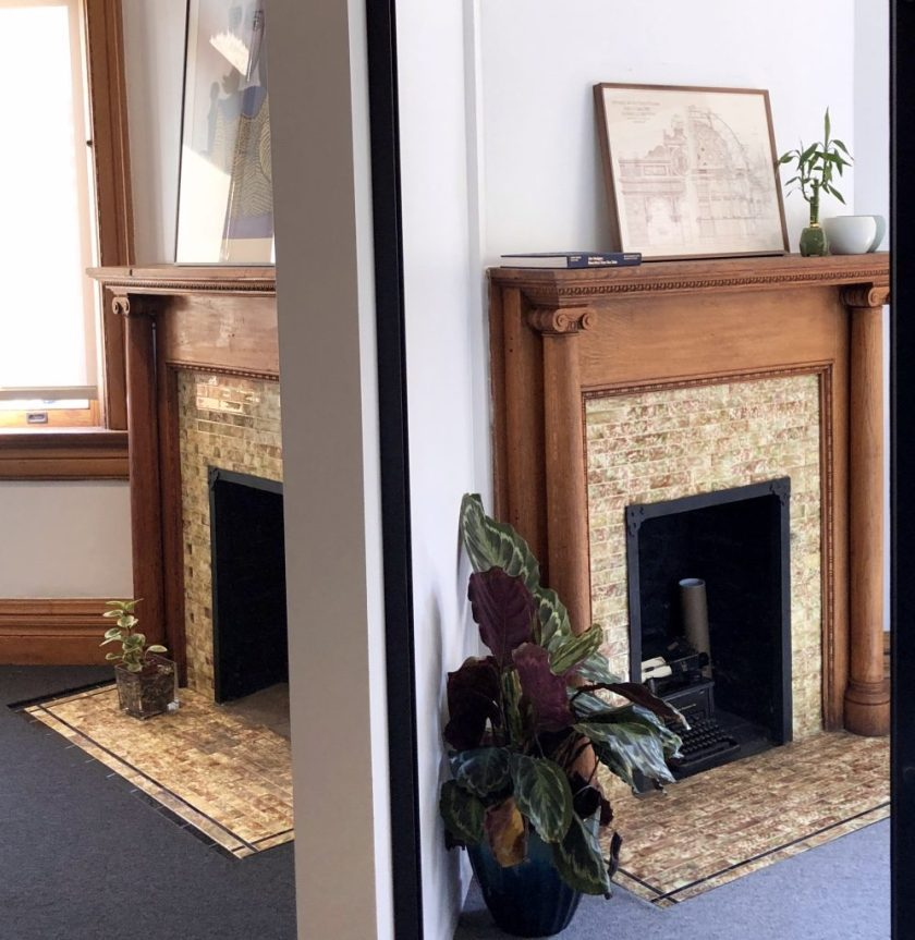 Two fireplaces, inside and office in The Bradbury Building.