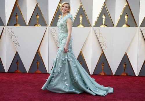 "Cate Blanchett, nominated for Best Actress for her role in ""Carol,"" arrives wearing Armani Prive. REUTERS/Lucy Nicholson"