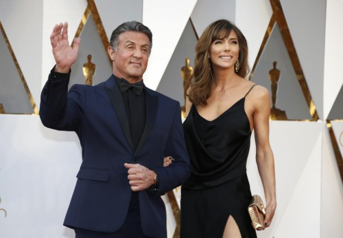 """Sylvester Stallone, nominated for Best Supporting Actor for his role in """"Creed,"""" and wife Jennifer Flavin. REUTERS/Lucy Nicholson"""