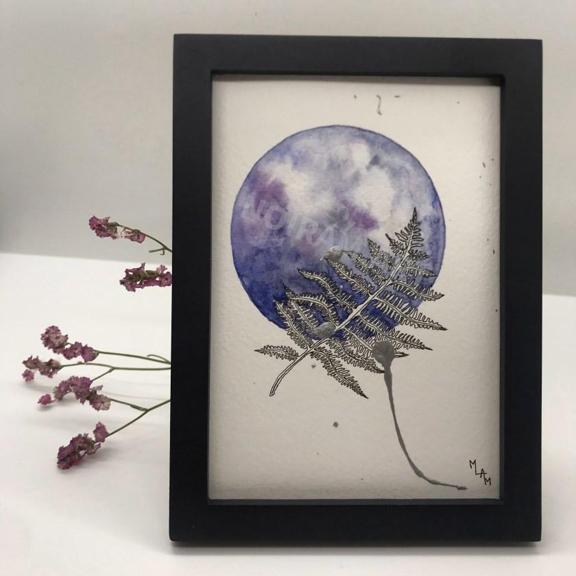Aquarelle une infinité de possibles fougère violet planète plante mlam noiram marion-lorraine poncet