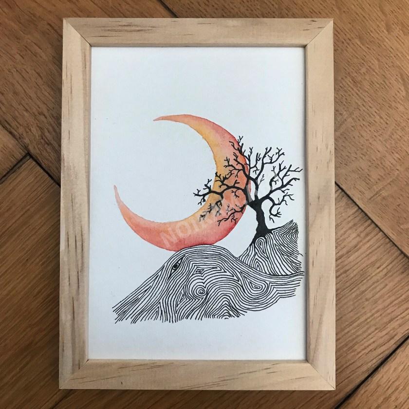 Aquarelle Les moissons sont finies lune arbre laboure mlam noiram marion-lorraine poncet