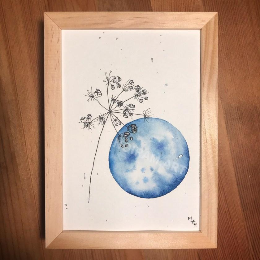 Aquarelle l'averse pluie bleu mlam noiram marion-lorraine poncet planète plante