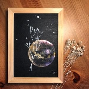 Aquarelle papier noir Evidence mlam noiram marion-lorraine poncet planète plante