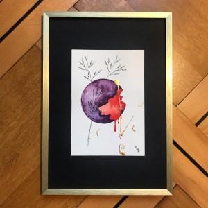 Aquarelle tragédie céleste sang dégouline planète plante mlam noiram marion-lorraine poncet