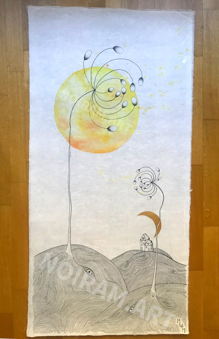 Aquarelle le vent ne t'a pas oublié papier japon campagne colline yeux laboure mlam noiram marion-lorraine poncet création logo