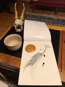 Aquarelle oiseau crâne or doré mlam noiram marion-lorraine poncet