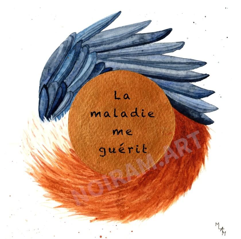 Aquarelle noiram mlam poncet la maladie me guérit queue de renard aile de corbeau logo