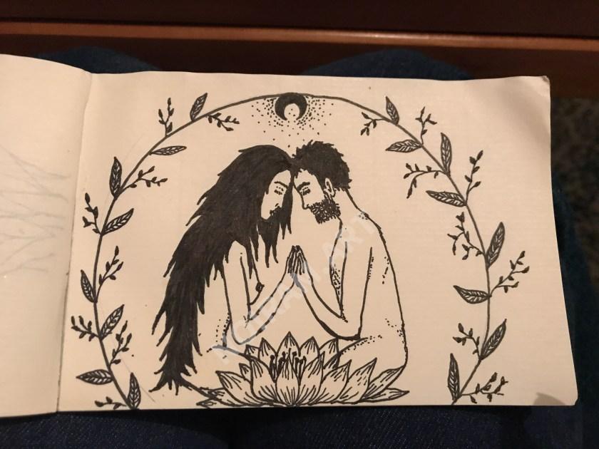 Croquis noiram mlam poncet couple union sacrée lotus