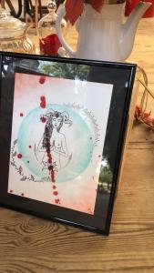 Aquarelle lignée féminine femme lune plantes astres sang menstrues cornes puissance mlam noiram marion-lorraine poncet