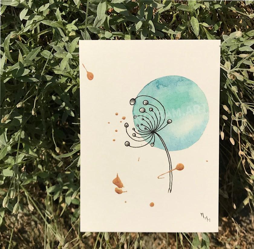 Aquarelle la naissance d'une comète planète plante mlam noiram marion-lorraine poncet carte